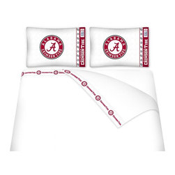Sports Coverage - Sports Coverage NCAA Alabama Crimson Tide Microfiber Hem Sheet Set - Twin - NCAA Alabama Crimson Tide Microfiber Hem Sheet Set have an ultrafine peach weave that is softer and more comfortable than cotton. Its brushed silk-like embrace provides good insulation and warmth, yet is breathable.   The 100% polyester microfiber is wrinkle-resistant, washes beautifully, and dries quickly with never any shrinkage. The pillowcase has a white on white print beneath the officially licensed team name and logo printed in vibrant team colors, complimenting the new printed hems.    Features: -  Weight of fabric - 92GSM ,  - Soothing texture and 11 pocket,  -  100% Polyester,  - Machine wash in cold water with light colors,  - Use gentle cycle and no bleach ,  - Tumble-dry,  - Do not iron ,
