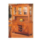 Alpine Furniture - Santa Fe Buffet w Natural Slate Tiles - Hutch is optional. Buffet with two storage drawers. Wine rack. Hutch with glass doors. Easy touch lighting. Six months warranty. Made from Asian oak solids with oak veneer. Caramel oak finish. No assembly required. Buffet: 58 in. W x 17 in. D x 36 in. H. Hutch: 60 in. W x 18 in. D x 48 in. H