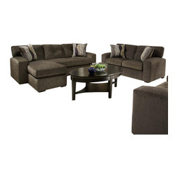 Chelsea Home Furniture - Chelsea Home 2-Piece Living Room Set Chaise in Hematite Gray - Rockland 2 Piece Living Room Set Chaise in Hematite gray - Zipper Opal Pillows belongs to the Chelsea Home Furniture collection .