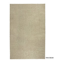 Sands Rug Co. - Tan/Cream Super Thick Shag (8' x 10') - Indulging the senses with its exceptionally soft solutions dyed polyester, the warmth of beige and tane radiate from the multi-color yarn construction. Available in three color options, each accent color of brown, cream, or black is peppered throughout the rug. Naturally designed to be stain and fade resistant, the thick pile will also hide traffic and dirt. Boasting coordinating serged edges and action backing, this rug is perfect for in home or office.