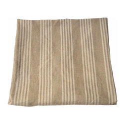 French Linen Striped Ticking - This is a wonderful, classic French ticking in a natural flax color alternating with narrow bands of off-white. Its fine twill weave, woven with a chevron pattern, makes the fabric fluid and tactile. With lovely, soft colors and with a distinct patina, this ticking definitely shows its age (mid-19th century).