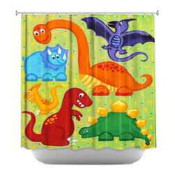 DiaNoche Designs - Shower Curtain Artistic - Dinosaur Jumble - DiaNoche Designs works with artists from around the world to bring unique, artistic products to decorate all aspects of your home.  Our designer Shower Curtains will be the talk of every guest to visit your bathroom!  Our Shower Curtains have Sewn reinforced holes for curtain rings, Shower Curtain Rings Not Included.  Dye Sublimation printing adheres the ink to the material for long life and durability. Machine Wash upon arrival for maximum softness on cold and dry low.  Printed in USA.