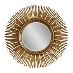 "Used 54"" Gold Sunburst Mirror - We always say ""Yes!!"" to a sunburst mirror! This beautiful 54"" Sunburst Mirror is quite heavy and of high quality at 78lbs.  Actual mirror measures 21.5"" in diameter."