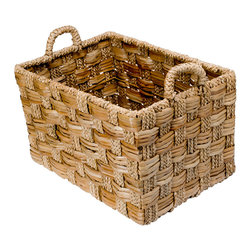 Kouboo - Rectangular Braided Sea Grass Basket, Large - The large size of this sturdy storage basket makes it perfect for housing bulky objects. Braided strands of seagrass are hand woven in an alternating pattern giving it more refined look.1 year limited warranty.