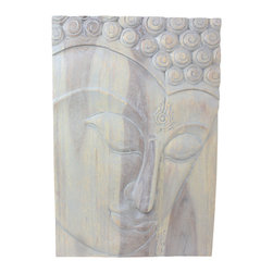 Kammika - Buddha Panel Ushnisha 20x30 inch H Sust Wood w Livos Eco Friendly Agate Grey Oil - This inspiring Buddha Panel Ushnisha 20 inch length x 30 inch height x approximately 4 inch thickness, including the approximately 2 inch protruding nose, Sustainable Monkey Pod Wood in Eco Friendly, Natural Livos Agate Grey Oil Finish Wall Panel presents Ushnisha, a three dimensional oval at the top of the head of the Buddha. It symbolizes his wisdom and openness as an enlightened being. Discover the effect of Buddha in the stage of achieving knowledge, Ushnisha, when you display this carved from joined panels. The panel has two embedded flush mount Keyhole hangers on the topmost securing crossbar on the back for a protruding screw from your wall. All are carved by craftspeople in Thailand, who spend hours meticulously shaping, sanding, and finishing these wonders of wood. Made of sustainable Monkey Pod wood grown for the woodcarving industry, each piece is a unique creation. Rubbed in Livos Agate Grey tone oil creates a water resistant and food safe matte finish. These natural oils are translucent, so the wood grain detail is highlighted. The oil makes the wood turn to an antique white look with a light grey patina finish. The light portions of wood turn to shades of beige, and the dark wood lightens to shades of brown with a light transparent grey top coat over the white antique looking undercoat. We make minimal use of electric hand sanders in the finishing process. Panels are dried in solar or propane kilns. No chemicals are used in the process, ever. Each piece is packaged with cartons from recycled cardboard with no plastic or other fillers. The color and grain of your piece of Nature will be unique, and may include small checks or cracks that occur when the wood is dried. Sizes are approximate. Products could have visible marks from tools used, patches from small repairs, knot holes, natural inclusions or holes. There may be various separations or cracks on your piece when it arrives. There may be some slight variation in size, color, texture, and finish.Only listed product included.