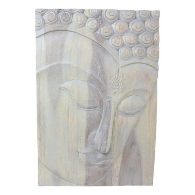 Kammika - Buddha Panel Ushnisha 20x30 inch H Sust Wood w Livos Eco Friendly Agate Grey Oil - This inspiring Buddha Panel Ushnisha 20 inch length x 30 inch height x approximately 4 inch thickness, including the approximately 2 inch protruding nose, Sustainable Monkey Pod Wood in Eco Friendly, Natural Livos Agate Grey Oil Finish Wall Panel presents Ushnisha, a three dimensional oval at the top of the head of the Buddha. It symbolizes his wisdom and openness as an enlightened being. Discover the effect of Buddha in the stage of achieving knowledge, Ushnisha, when you display this carved from joined panels. The panel has two embedded flush mount Keyhole hangers on the topmost securing crossbar on the back for a protruding screw from your wall. All are carved by craftspeople in Thailand, who spend hours meticulously shaping, sanding, and finishing these wonders of wood. Made of sustainable Monkey Pod wood grown for the woodcarving industry, each piece is a unique creation. Rubbed in Livos Agate Grey tone oil creates a water resistant and food safe matte finish. These natural oils are translucent, so the wood grain detail is highlighted. The oil makes the wood turn to an antique white look with a light grey patina finish. The light portions of wood turn to shades of beige, and the dark wood lightens to shades of brown with a light transparent grey top coat over the white antique looking undercoat. We make minimal use of electric hand sanders in the finishing process. Panels are dried in solar or propane kilns. No chemicals are used in the process, ever. Each piece is packaged with cartons from recycled cardboard with no plastic or other fillers. The color and grain of your piece of Nature will be unique, and may include small checks or cracks that occur when the wood is dried. Sizes are approximate. Products could have visible marks from tools used, patches from small repairs, knot holes, natural inclusions or holes. There may be various separations or cracks on your piec