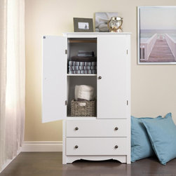 None - Winslow White 2-drawer Armoire - Elegant and multifunctional,the Winslow 2 Door Armoire is a must for any space-conscious bedroom. The cabinet behind the double doors can serve as an entertainment center for a small TV,or you can use the included hanging rod to keep clothes organized.