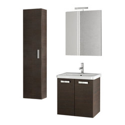 ACF - 22 Inch Wenge Bathroom Vanity Set - Set Includes: Vanity Cabinet (2 Doors).