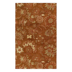 """Kaleen - Kaleen Magi Rose of Lebanon (Copper) 3'6"""" x 5'3"""" Rug - Magi is a stunning collection of """"run off"""" designs. Elegantly understated and timeless designs produced from the finest 100% Virgin Wool. Hand Made with pride by Kaleen's own artisans in India."""