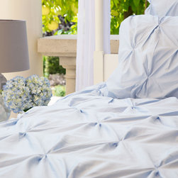 Crane & Canopy - Valencia Light Blue Sham - Standard - Combining soft tones with modern textures, The Valencia duvet gives a look that is full of volume and elegance. The Valencia light blue pintuck duvet cover in a soft blue will subtly bring your room to life.