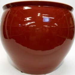 """Oriental Furnishings - Chinese Porcelain Fish Bowl Planter- Glazed in Oxblood Red, 10"""" - This striking 10"""" diameter Chinese porcelain Fish Bowl Planter (available in eight sizes--see add'l info) is hand-glazed in a lustrous oxblood red.  Our artisans use only the highest quality porcelain, fire glazed both inside and outside for added strength. Add an elegant design statement with one of our stands available in a wide assortment of sizes (including pedestal), styles and wood types.  Remember to use the bottom diameter size when selecting your stand."""