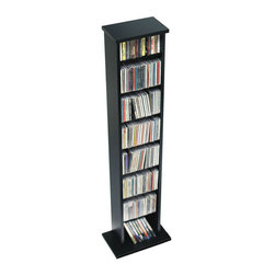 Prepac - Prepac Slim CD DVD Media Storage Rack in Black - Prepac - CD & DVD Media Storage - BMA0160 - Displaying contemporary style and modern functionality this neat and compact multimedia storage tower is ideal for small collections or limited spaces. Fully adjustable shelves can be set to any position to accommodate your collection and ensure full flexibility for future expansion.