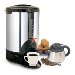 Maxi Matic USA - 40cup Stainless Steel Urn - Elite Cuisine 40-Cup Electric Coffee Brewer with 40-Cup large capacity perfect for office use or at large gatherings; Built in plastic filter and chrome finish exterior for easy cleaning; Double Thermal Layer for extra insulating to preserve the heat for extra hot and fresh coffee; Safety-lock on cover to prevent accidental spills; Automatic shut-off and goes to Keep-Warm feature; Convenient water level indicator; Energy saving with high efficiency; Convenient coffee dispenser with continuous pouring feature; 1000 Watts; ETL Approved.  This item cannot be shipped to APO/FPO addresses. Please accept our apologies.