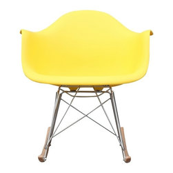 Fine Mod Imports - Fine Mod Rocker Arm Chair in Yellow - The Rocker Arm Chair is a classic mid-century piece made the classic way with ABS stainless steel legs and in Ash wood