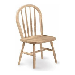 International Concepts - Wood Windsor Kids Chair - Upgrade any kid's environment with this traditional yet charming wooden chair. The handcrafted highlights include turned slats, a crested back and contoured seat. Splayed legs offer unparalleled stability. An optional wood finish kit offers many color options. Made of ParaWood. Unfinished. Minimal assembly required. 12.75 in. Seat Height. 15 in. W x 14 in. L x 30 in. H