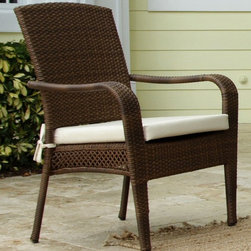 Hospitality Rattan - Grenada Patio Lounge Chair in Viro Fiber Anti - Fabric: Canvas TaupeGraceful curves add a hint of elegance to this island inspired outdoor lounge chair, a perfect choice for a patio, garden or poolside deck. The chair is constructed of woven wicker in a warm antique brown finish and is enhanced by a durable aluminum frame that will ensure long term use. This product is warranted for outdoor use. Made of Aluminum Frame w All Weather Viro Fiber Wicker. Constructed of an aluminum frame wrapped in woven viro fiber. Cushions are optional on this item. Weather and UV resistant. Viro antique finish. Matching dining group and pub set available. Stackable design helpful In commercial settings. 31 in. W x 28 in. D x 38 in. H (13 lbs.)The Grenada contemporary patio set has a fully anodized aluminum frame and woven Viro fiber, which gives this collection a unique textured surface. The Grenada Collection does not require cushions. The collection also features frosted tempered glass on all its tables, along with the ability to accommodate an umbrella with the patio dining set. Cushions are optional and are not included.The Grenada Collection has a contemporary, yet tropical feel that offer a clean look for any patio area and the convenience of all-weather wicker. Supported by an aluminum frame wrapped in high quality Viro fiber. This all-weather wicker lounge chair is incredibly comfortable with or without cushions. The simplicity of the Grenada collection and the versatility really make it an excellent choice for anyone.