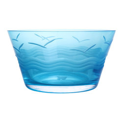 Rolf Glass - Seabreeze Blue Small Bowl Set of 4 - Fill them with cherries or soup, peanuts or pretzels, these blue glass bowls will make whatever you're serving look absolutely appealing. Gulls soaring above the waves are etched into the glass, creating a summery vibe.