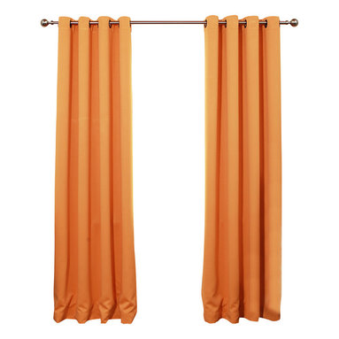 "Best Home Fashion - Solid Grommet Top Thermal Insulated Blackout Curtains - 1 Pair, Orange, 108"" - Bring warmth and style to your home with high-quality insulated Blackout window curtain pair. The grommet top adds a modern touch and provides energy efficient comfort. It features innovative fabric construction. Compared to other curtains, our product is extremely SOFT and DRAPERY. The sophisticated designs allow you to decorate your windows with great style. NEVER compare our Blackout Curtains with those cheap ones that are stiff and looks like a shower curtain. Blackout is perfect for : Late sleepers Shift workers Seniors Infants & parents Students Computer operators Care instruction : -Machine wash warm with like colors. -Use only non-chlorine bleach when needed. -Tumble dry low. -Warm iron as needed"