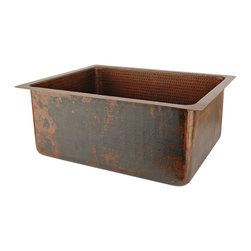 """Premier Copper Products - 20"""" Hammered Copper Kitchen/Bar/Prep Sink - Are you looking for the ultimate in rustic elegance? This rectangular hammered copper sink makes a stunning style statement by adding rich color and texture to your kitchen or wet bar. Its generous eight-inch depth makes it large enough to tackle almost any task."""