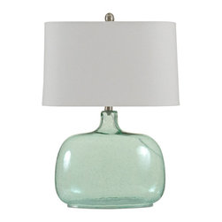 "Lamps Plus - Coastal Brentford Seeded Teal Glass Table Lamp - Add some modern style to your decor with this contemporary table lamp. The oval rounded base features seeded teal glass that gently tapers upward. The stylish linen drum shade provides a warm even glow. A great addition to your home this sophisticated table lamp works with a variety of decor styles. Teal glass construction table lamp. Linen drum shade. Contemporary bulb design.  Maximum 100 watt or equivalent bulb (not included).  3-way rotary switch.  25 1/2"" high. Shade is 10"" by 16"" at top 11"" by 17"" at bottom 10"" high. Base is 10"" by 6"" oval.  Teal glass table lamp.  Linen drum shade.  Contemporary bulb design.  Maximum 100 watt or equivalent bulb (not included).  3-way rotary switch.  French-wired - cord runs from the back of the socket.  25 1/2"" high.  Shade is 10"" by 16"" at top 11"" by 17"" at bottom 10"" high.  Base is 10"" by 6"" oval."