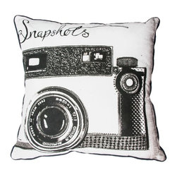 Snapshots Decorative Pillow - Bring back memories with this quirky cushion from the Graham & Brown pillow collection. Featuring a vintage camera, this pillow will inspire you to make new memories that will last a lifetime. The classic monochrome colour palette makes this cushion perfect to co-ordinate with any colour palette within the home. Made from 100% cotton at the beautiful size of 50x50cm and generously filled with polyester hollow fibre this quirky pillow is both plush and cosy. Featuring a complimenting coloured back and colour co-ordinating piping and zip, each pillow in our unique range is finished to perfection.