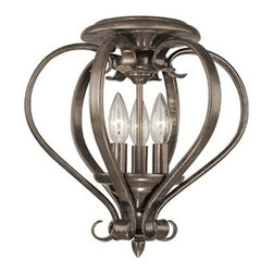 Vaxcel Lighting - Vaxcel Lighting Monrovia Traditional Flush Mount Ceiling Light X-ZBR30453CC - The elegant scrollwork forms a beautiful shape on this Vaxcel Lighting flush mount ceiling light. From the Monrovia Collection, this elegant ceiling light features three candelabra lights and comes finished in a rich Royal Bronze hue that emphasizes the flowing curves and scrollwork.