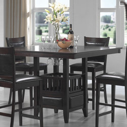 Coaster - Jaden Collection Counter Height Table in Cappuccino - This simple and stylish counter height dining collection features a square table base with center storage cabinet and wine glass holders. Chairs are wrapped in a durable black leather-like vinyl. Crafted from select hardwoods and okume veneers. Finished in a rich cappuccino.