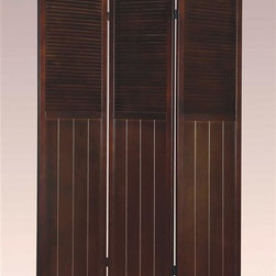 Asia Direct Home - 3-Panel Room Divider in Espresso Finish - Wooden frame. Folds easily for storage. Made in Vietnam. Thickness: 1 in.. Overall: 48 in. W x 70 in. H