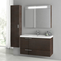 ACF - 39 Inch Wenge Bathroom Vanity Set - This complete vanity set comes with a two door one drawer vanity cabinet, ceramic sink, lighted medicine cabinet, and tall storage cabinet. It is a wall hung set that comes in a wenge finish. The vanity set was made from high qualities materials in Italy by designer ACF. It has a 39 inch width and is perfect for the contemporary bathroom. Set Includes:. Vanity Cabinet (2 Doors,1 Drawer). High-end fitted ceramic sink. Wall mounted medicine cabinet. Tall storage cabinet. Vanity Set Features . Vanity cabinet made of engineered wood. Cabinet features waterproof panels. Vanity cabinet in wenge finish. Cabinet features 2 doors, 1 soft-closing drawer. Faucet not included. Perfect for modern bathrooms. Made and designed in Italy. Includes manufacturer 5 year warranty.