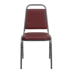 Flash Furniture - Hercules Trapezoidal Back Stacking Banquet Chair with Burgundy Vinyl and Silver - This is one tough chair that will withstand the rigors of time. With a frame that will hold in excess of 500 lbs., the Hercules Series Banquet Chair is one of the strongest banquet chairs on the market.