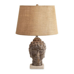 Samatha Buddha Lamp - In a hectic world, we all need a place of sanctuary. Reach out for your own sense of zen with the Samatha Buddha Lamp. Topped with a natural-toned shade, the quiet serenity of this lamp will create harmony in your own d�cor.