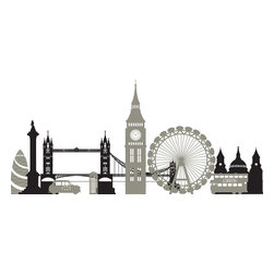 "WallPops - London Calling Wall Art Decal Kit - London is one of the most famous cities in the world, and now it's just a wall away with this London city skyline wall decal kit. Bring a British cityscape to life with this stylish panoramic sticker set. The London Eye, Tower Bridge and Westminster are all featured in this London Calling WallPops Kit. Appliques come on a 17.25"" x 24"" sheet and contains 2 total pieces. WallPops are always repositionable and removable."