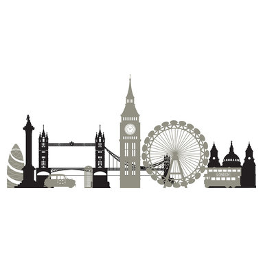 """WallPops - London Calling Wall Art Decal Kit - London is one of the most famous cities in the world, and now it's just a wall away with this London city skyline wall decal kit. Bring a British cityscape to life with this stylish panoramic sticker set. The London Eye, Tower Bridge and Westminster are all featured in this London Calling WallPops Kit. Appliques come on a 17.25"""" x 24"""" sheet and contains 2 total pieces. WallPops are always repositionable and removable."""
