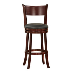 Homelegance - Homelegance Edmond Swivel Pub Chair in Dark Cherry - Expanding the seating availability in your entertainment or dining space has become much less complicated with the Edmond collection.