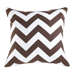 Chevron Pillow - Brown - Graphic pillows are the simplest way to update a room. Add a few to your sofa, arm chair, and bed; instant makeover! This one comes in a few vibrant colors so you can spread them out around the house. Each cover is made of 100% cotton.