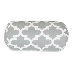 Majestic Home Goods - Gray Trellis Round Bolster Pillow - Add a splash of color and a little texture to any room with these plush pillows by Majestic Home Goods. The Majestic Home Goods round bolster pillow will instantly lend a comfortable look to your living room, family room or bedroom. Whether you are using them as decor throw pillows or simply for support, Majestic Home Goods round bolster pillows are the perfect addition to your home. These throw pillows are woven from Cotton Twill, and filled with Super Loft recycled Polyester Fiber Fill for a comfortable but durable look. Spot clean only.