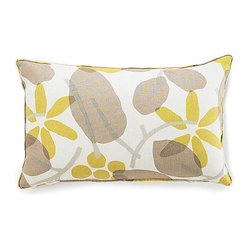 JITI - Bethy Floral Light Brown Linen Pillow - Sunny, floral and lovely in linen, this pillow adds cheerful color and easy elegance to any space. Use it to brighten up a neutral chair or add a charming touch to your freshly made bed. With a feather and down insert, it's as comfy as it is comely.