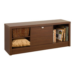 Prepac - Prepac Series 9 Designer Cubbie Bench with Door in Medium Brown Walnut - Prepac - Bedroom Benches - LUBR05011 - Make storage simple with the Medium Brown Walnut Series 9 Designer Cubbie Bench. The two side compartments will neatly store books baskets boxes and other smaller items thanks to the adjustable shelves that easily adapt the space to your liking. For those items you want out-of-sight the center compartment with door includes a metallic pull to make access a snap. Like the other members of the Series 9 Designer Collection this cubbie benchs thick bold top and sides make this piece as primed for storage as it is for style.
