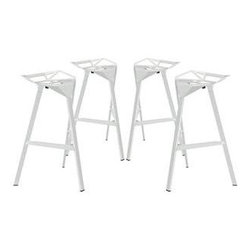 """LexMod - Launch Stacking Bar Stool Set of 4 in White - Launch Stacking Bar Stool Set of 4 in White - Listening is an artform with this bar stool that encourages positive social engagement. While surprisingly comfortable to sit upright in, Launch also reminds you to lean forward and smile. It is an edgy piece, that conveys both a sense of minimalist modernism, and a willingness to enter the future. Made of a coated aluminum frame with non-marking feet, Launch comes fully-assembled and stackable for easy use. Set Includes: Four - Launch Bar Stool Stacking Chair Sleek modern bar stool, For indoor or outdoor use, Coated aluminum frame, Easy wipe-clean surface, Comes fully-assembled, Fully-stackable Overall Product Dimensions: 22""""L x 22.5""""W x 32.5""""H Seat Dimensions: 22""""L x 22""""W x 30.5""""HBACKrest Height: 2.5""""H - Mid Century Modern Furniture."""
