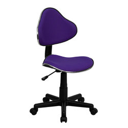 Flash Furniture - Flash Furniture Purple Fabric Ergonomic Task Chair - BT-699-PURPLE-GG - This attractive task chair features a contoured shaped seat and back with chrome metal band accent. Whether for the kids or for your home office, this chair will be a perfect addition. This chair will be a welcome and personal addition for any home office or home study area. [BT-699-PURPLE-GG]
