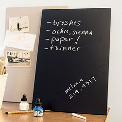 Modular Chalkboard Tile - Instead of the typical dry erase board, why not tap into your nostalgic side with a small chalkboard for your workspace? It's functional and stylish — a win-win.