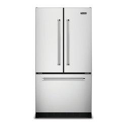 "Viking 36"" French-door Refrigerator, Stainless Steel | VCFF236SS - Cabinet Depth Design Adjustable shelves Internal Filtered Water Dispensing Electronic Temperature Control Temperature Adjustable Drawers"