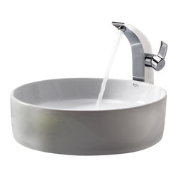 Kraus - Kraus White Round Ceramic Sink and Illusio Faucet Chrome - *Add a touch of elegance to your bathroom with a ceramic sink combo from Kraus