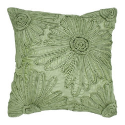 Rizzy Home - Rizzy Home Poly Silk Ribbon Flower Decorative Throw Pillow - T05277 - Shop for Pillowcases and Shams from Hayneedle.com! Ribbon details make the Rizzy Home Poly Silk Ribbon Flower Decorative Throw Pillow flirty and fun. The perfect way to dress up your bedding ensemble or sofa this accent pillow comes in your choice of sophisticated color. It's made of polyester silk with appliqued ribbon details. It includes a removable polyester insert and hidden zipper. Spot clean only.About Rizzy HomeRizwan Ansari and his brother Shamsu come from a family of rug artisans in India. Their design color and production skills have been passed from generation to generation. Known for meticulously crafted handmade wool rugs and quality textiles the Ansari family has built a flourishing home-fashion business from state-of-the-art facilities in India. In 2007 they established a rug-and-textiles distribution center in Calhoun Georgia. With more than 100 000 square feet of warehouse space the U.S. facility allows the company to further build on its reputation for excellence artistry and innovation. Their products include a wide selection of handmade and machine-made rugs as well as designer bed linens duvet sets quilts decorative pillows table linens and more. The family business prides itself on outstanding customer service a variety of price points and an array of designs and weaving techniques.