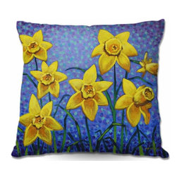 DiaNoche Designs - Pillow Woven Poplin - Spring Daffs III - Toss this decorative pillow on any bed, sofa or chair, and add personality to your chic and stylish decor. Lay your head against your new art and relax! Made of woven Poly-Poplin.  Includes a cushy supportive pillow insert, zipped inside. Dye Sublimation printing adheres the ink to the material for long life and durability. Double Sided Print, Machine Washable, Product may vary slightly from image.
