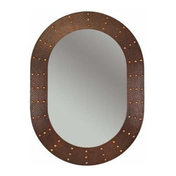 "Premier-Copper-Products - 35"" Oval Copper Mirror with Forged Rivets - MFO3526-RI Premier Copper Products 35 Inch Hand Hammered Oval Copper Mirror with Hand Forged Rivets"