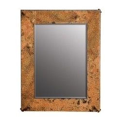 """KCK Bathroom Mirrors & Accessories - Small Tuscany Mirror - Beveled edge glass. Hand hammered copper. Nails forged by hand. Horizontal or vertical mounting. 21 1/2"""" W x 27 1/2"""" D 