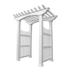 Weatherables Victorian 8 ft. Vinyl Pergola Arbor - Architectural detail and classic design are perfectly blended in the Weatherables Victorian 8 ft. Vinyl Pergola Arbor. Constructed from the most advanced materials, you'll spend less time on upkeep and more time enjoying your enhanced outdoor living space. Beautiful columns and side accents work in tandem with the elegant vinyl top to create a truly unique experience for your landscape. Made in the USA from vinyl by Weatherables, the strongest vinyl in the industry, this pergola arbor is worry-free. It's made of 100% true vinyl and includes no polypropylenes that can deteriorate over time. You'll never need to sand, paint, or stain, and it won't fade, warp, chip, or crack. Decorative trim for bottom of posts is included. It arrives as a pre-engineered kit so there's nothing for you to cut. This pergola arbor assembles in about two hours with minimal site work required.DimensionsRafters: 1.75W x 3.5D inchesPosts: 5W x 5D inchesInterior: 49W x 45D x 85H inchesExterior: 59W x 45D x 96.5H inchesWeight: 180 lbs.The leading wholesale manufacturer of vinyl fencing and garden products in the USA, USA Vinyl, LLC strives to offer the highest quality vinyl fence products, the best service, and a great warranty at the lowest prices. Having developed a reputation as a premier vendor or vinyl fencing, railing, and garden decor over the years, USA Vinyl offers technical support on all of their products and stands by their customer service. Dedicated to making products that are Made in the USA, their vinyl products are 100% American made and they never cut corners by purchasing inferior materials.