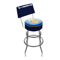 Trademark Global - Trademark Global Police Officer Padded Swivel Bar Stool with Back Multicolor - P - Shop for Stools from Hayneedle.com! Show some support for the badge and everything it represents with the high-quality Trademark Global Police Officer Padded Bar Stool with Back! This officially licensed stool makes a stylish accent to any room of your home but you have to admit it's especially perfect for the game room bar or garage. It is affordable stool that's as handsome as it is long-lasting featuring an authentic logo that's reverse printed on .125-inch scratch-resistant and UV-protected acrylic highlighted by marine -grade vinyl sides trimmed with .25-inch vinyl beading for added durability. Its seat and backrest are stuffed with sumptuous foam padding for maximum comfort and the 360-degree swivel function means that you can turn toward the action with ease. An eye-catching addition to your favorite hot spot from top to bottom this stool also boasts chrome-plated double rung reinforced legs crafted from tubular steel that's lightweight yet strong enough to support even your biggest buddies come game night.About Trademark Global Inc.Located in Lorain Ohio Trademark Global offers a vast selection of items for your home and lifestyle. Whether you need automotive products collectibles electronics general merchandise home and garden items home decor housewares outdoor supplies sporting goods tools or toys Trademark Global has it at a price you can afford. Decor items and so much more are the hallmark of this company.