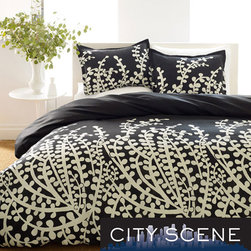 None - City Scene Branches Black 7-piece Bed in a Bag with Sheet Set - Add ornate style to your bedroom with this black-and-white bedsheet set. This bed-in-a-bag set is made of cotton and includes two shams, two pillowcases, a comforter, a fitted sheet, and a flat sheet with a lovely abstract branch design.